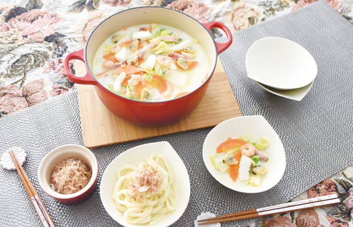 シーフードミルク鍋& 和風ミルクうどん